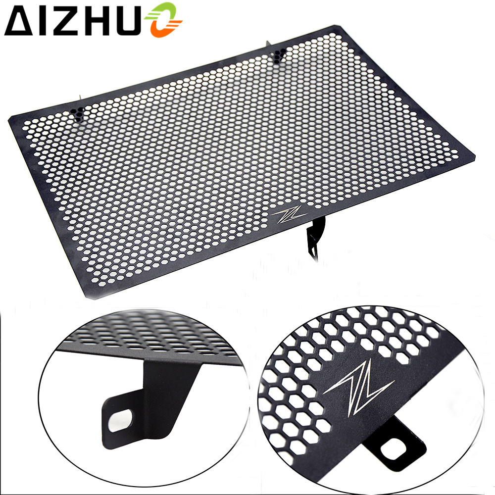 motorcycle Radiator Grille Guard Cover Stainless steel with Z logo Radiator protector For Kawasaki Z750 Z800 Z1000 NINJA 1000 for kawasaki z900 2017 motorcycle radiator guard gloss stainless steel grille bezel radiator net protective cover