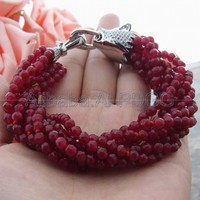 9Strands 4MM Red Stone Bracelet CZ