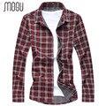 MOGU Fashion Plaid Shirt For Men Spring Long Sleeve Men's Shirts Casual Shirt 2017 Men's Large Sizes M-7XL Men Shirt 6XL