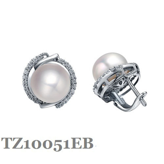 Guaranty Sterling Silver Earring With 9 5 10mm Natural Pearls Fashion Jewelry English Castle Lock Finding