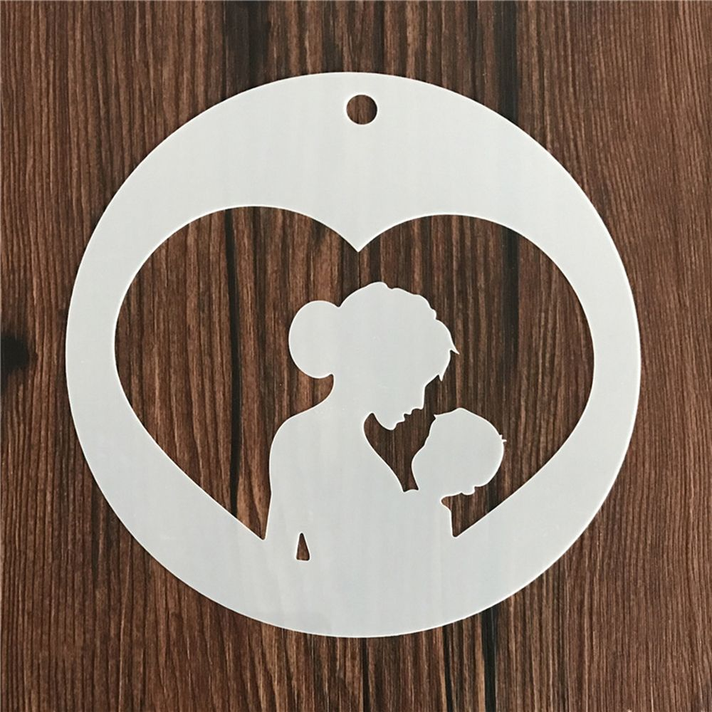 Warm Mother's Day Kid Reusable Stencil Airbrush Painting Art Cake Spray Mold DIY Decor Crafts