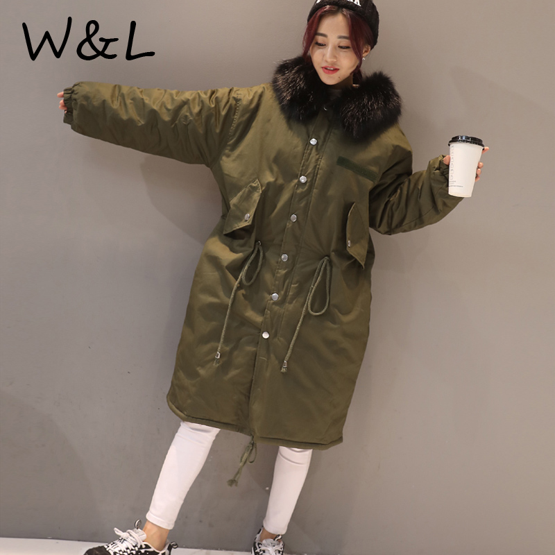 2017 Autumn Winter Parkas Jacket Women Coats thick Female Outerwear Casual Long Down Cotton Wadded Ladies Fashion Warm Clothing women winter hooded padded print long cotton coat woman outerwear thick casual wadded jacket female parkas cotton coats pw1002