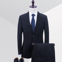 TOP Quality Brand Fashion Men Suits Black Stripe Suit Blazers Male Tuxedos Slim Fit Groom Prom
