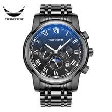 Marcas conocidas de los hombres Casual de Negocios Negro Caja de Acero Inoxidable relojes luminosos sapphire espejo hombres reloj mecánico automático