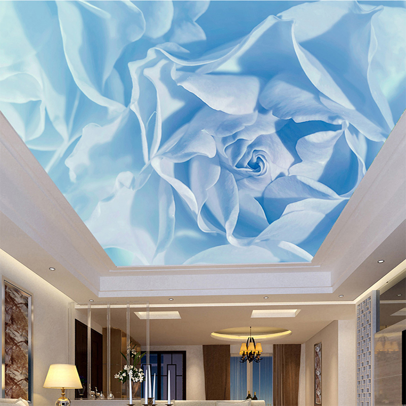 Custom Dream Blue Rose Ceiling Wall Cloth Wallpaper For Walls 3 D Living Room Bedroom Ceiling Wall Home Decor 3D Mural Paintings