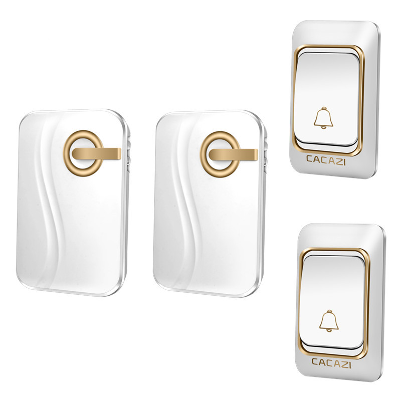 CACAZI Wireless Doorbell DC battery-operated 200M remote Door bell waterproof 2 transmitters 2 receivers 36 rings door chime  cacazi dc wireless doorbell need battery 150m remote waterproof gate door bell chime ring wireless 36 tunes 1 emitter 2 receiver