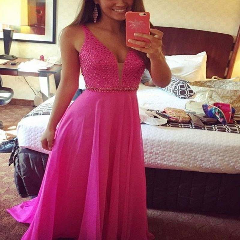 Sexy Deep V-Neck Long Prom Gown Sweep Train Gorgeous Crystal Beading Formal Evening Dresses For Wedding Party Custom Made
