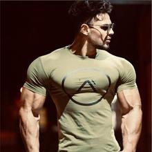 2019 New Brand Clothing Gyms Tight Cotton T-shirt Mens Fitness Homme T Shirt Men Summer Tees Tops