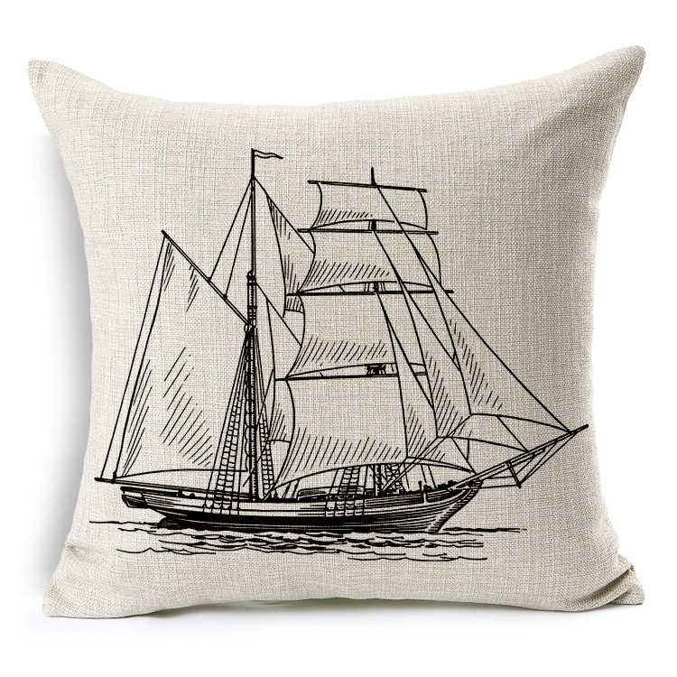Square Linen Cushion Cover Sailing Boat Anchor Map Printed Decorative Pillow Covers Kussenhoes Capa De Almofada Coussin 45x45cm