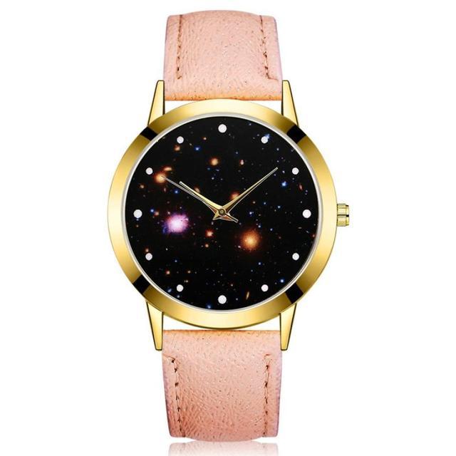 Neutral Quartz Watch Sample Male And Female Fashion Wristwatch Starry Sky Leathe
