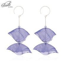 Badu Bohemian Yarn Flower Earring Copper Round Hoop Long Earrings for Women Christmas Jewelry Gift Girls Wholesale