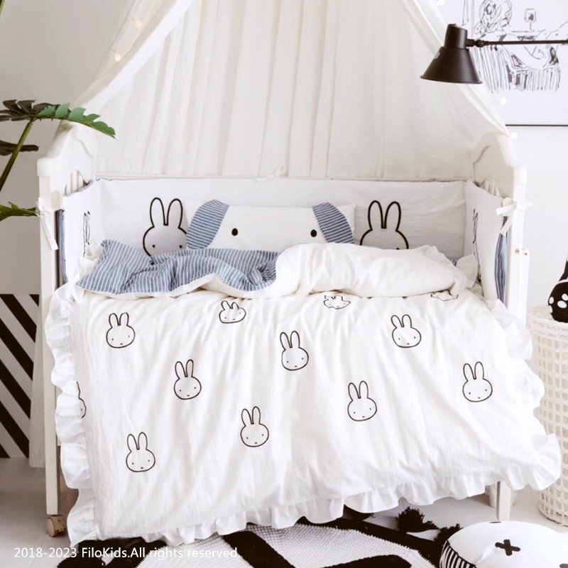 3/4pcs set nordic hand-painted Ruffled design 100% cotton baby bedding set for newborn baby duvet cover pillowcase crib bumpers