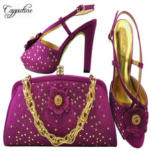 Capputine New African Rhinestone Shoes And Bags Matching Set Summer Desgin Shoes And Shoes And Bag For Wedding Party MM1040