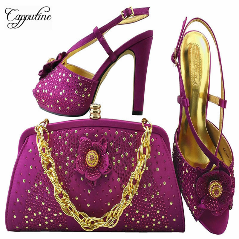 Capputine New African Rhinestone Shoes And Bags Matching Set Summer Desgin Shoes And Shoes And Bag For Wedding Party MM1040 2016 spring and summer free shipping red new fashion design shoes african women print rt 3