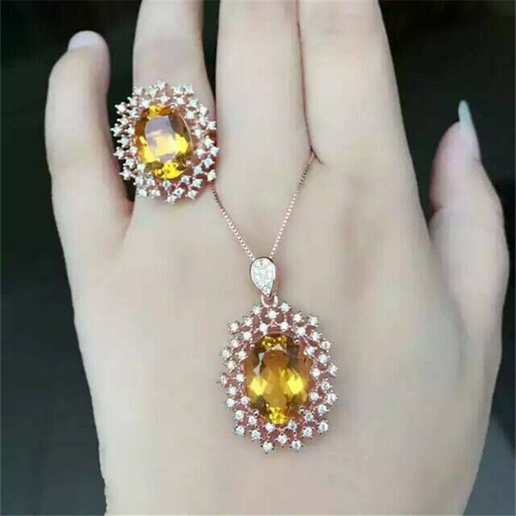 Natural yellow crystal ring necklace pendant set inlaid jewelry wholesale S925 Silver Sterling Silver deer king jewelry crystal pendant silver inlaid silver fox s925 wholesale margin of recruit personality styles