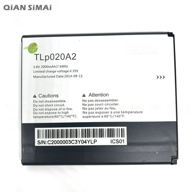 QiAN SiMAi 1pcs High Quality TLp020A2 2000mAh battery For Alcatel One Touch Pop Star LTE A845L / POP S3 OT5050 5050X phone