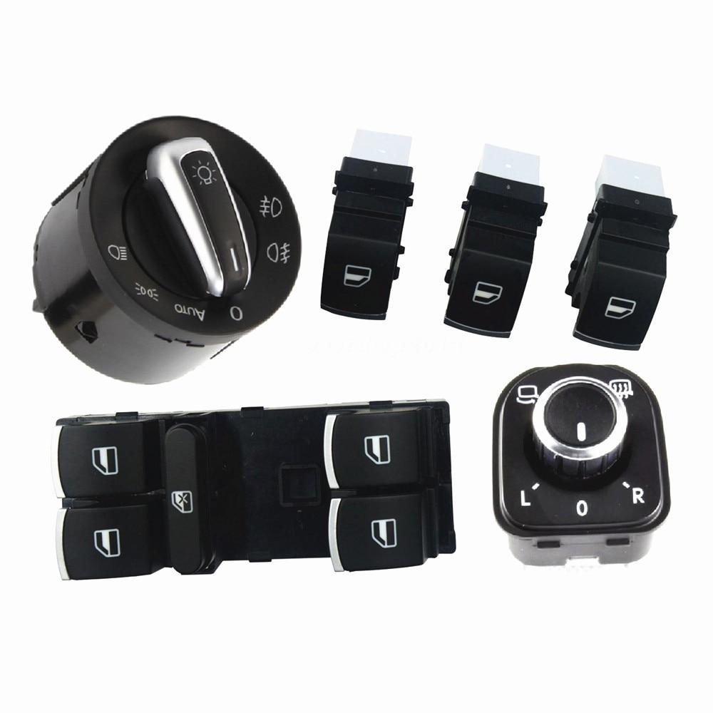 6Pcs Chrome Auto Headlight Switch Side Mirror Push Button Master Window Switch For Passat B6 Tiguan Golf Jetta MK5 5ND 941 431 B