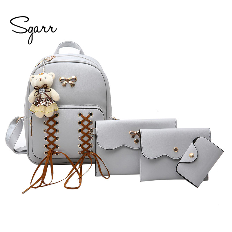 SGARR Fashion Women PU Leather Backpack For Teenager Girls School Bag 4 pieces Backpack Set Casual
