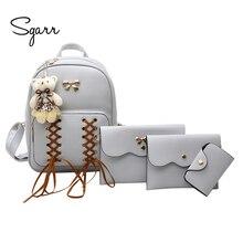 Sgarr модные Дамские туфли из PU искусственной кожи рюкзак для девочек-подростков школьная сумка 4 шт. Рюкзак Комплект Повседневная сумка женский кошелек Новый