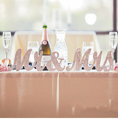Free Shipping 3pcs/lot Wedding Decorations Bling Bling Silver Wooden  Letters Alphabet Wedding Bride And Groom Table Decoration