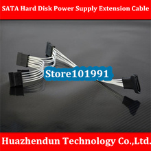 Copper plating silver Computer SATA Hard Disk Power Supply Extension Cable 20CM+10CM+10CM Upright Type 18AWG