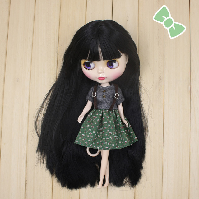 Factory Neo Blythe Doll Black Hair Free Gift