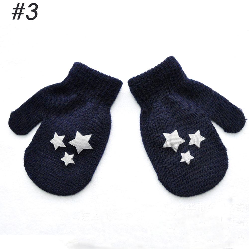1 пара милых перчаток в горошек со звездами и сердечками для мальчиков и девочек, мягкие вязаные теплые перчатки для детей - Цвет: 3