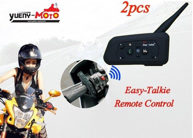 2017 version R4 Easy Talkie 2PC free shipping remote control bluetooth motorcycle helmet intercom wirless BT interphone headset