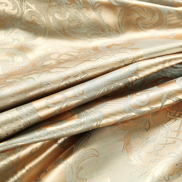 Floral Patterned Silver and Gold Color Bedding Set