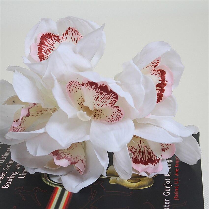 Real Touch cymbidium 6 ყვავილის თავი / - დღესასწაულები და წვეულება - ფოტო 4