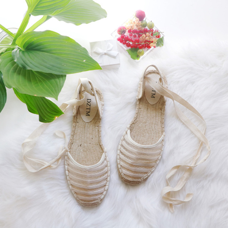 Flat Women Sandals Espadrille Shoes Woman 2018 Summer Casual Shoes Loafers Women Ankle Strap Sandals Mesh Shoes White Hemp Shoes mvvjke summer women shoes woman genuine leather flat sandals casual open toe sandals women sandals