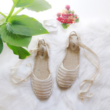 Summer Sandals Espadrille Women Sandals flat shoes Espadrilles Lace Up Ladies Flats Casual Shoes For Woman Spring ladies shoes and sandals Black Plus Size 41 Cheap Shoes Female black rope women white slingback shoes lace up ladies strap sandals female wedge ankle espadrilles pumps tie closed toe designer