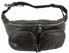 Cowhide Leather men's Casual Shopping Waist Bag Carry Small Shoulder Bag Messenger Bag