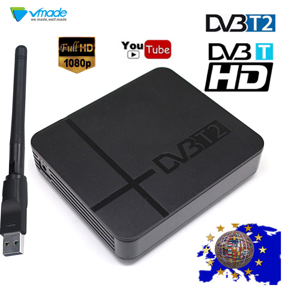 DVB T2 Decoder TV Box HD Terrestrial Digital TV Tuner Receiver Support USB WIFI H.264 MPEG4 FTA HDMI DVB-T Satellite Set-top Box