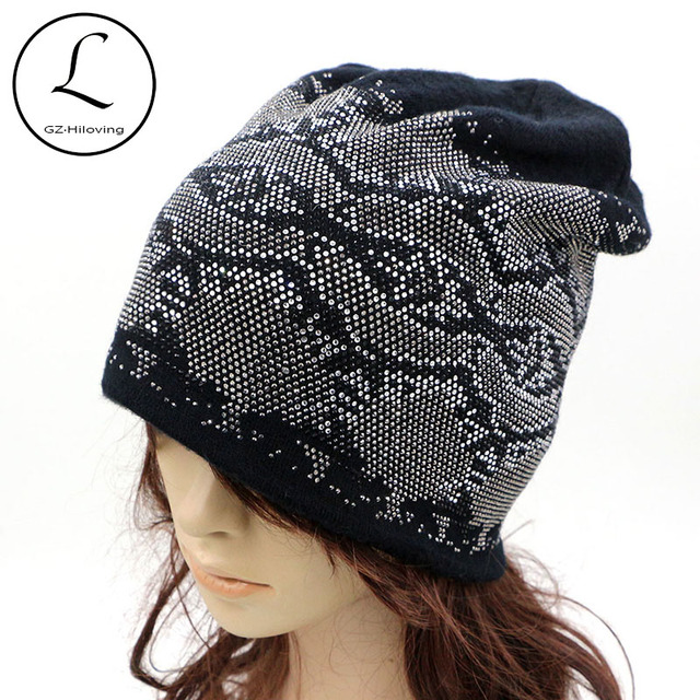 2016 Cool Hot Winter Womens Slouch Cotton Polyester Beanie Hats Black Oversized Beanie Hats Cap Womens Rhinestone Glitter Hats
