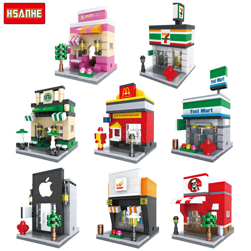 HSANHE 190+pcs Mini Street Architecture Building Blocks Toys for Children Kids Educational Figure Toys Compatible With Brands hsanhe mini micro street building blocks educational toys compatible with legoe blocks city bricks gifts for children kids