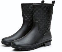 women boots rain Italianate Rubber galosh rain boots Water bot Short Tube galoshes Casual Walking Outdoor Waterproof Low Heel 41