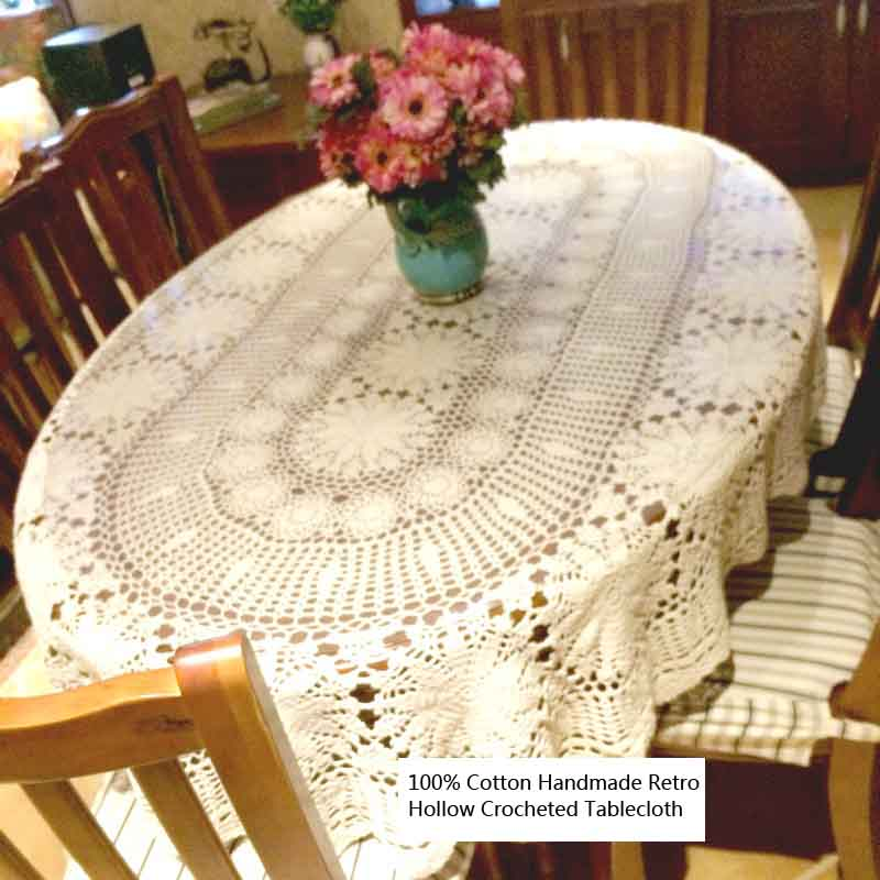 100% Cotton Handmade Retro Crochet Hollow Out Design Ellipse Table Covers Washable Tabletop Decoration for Weddings,Tea Pads