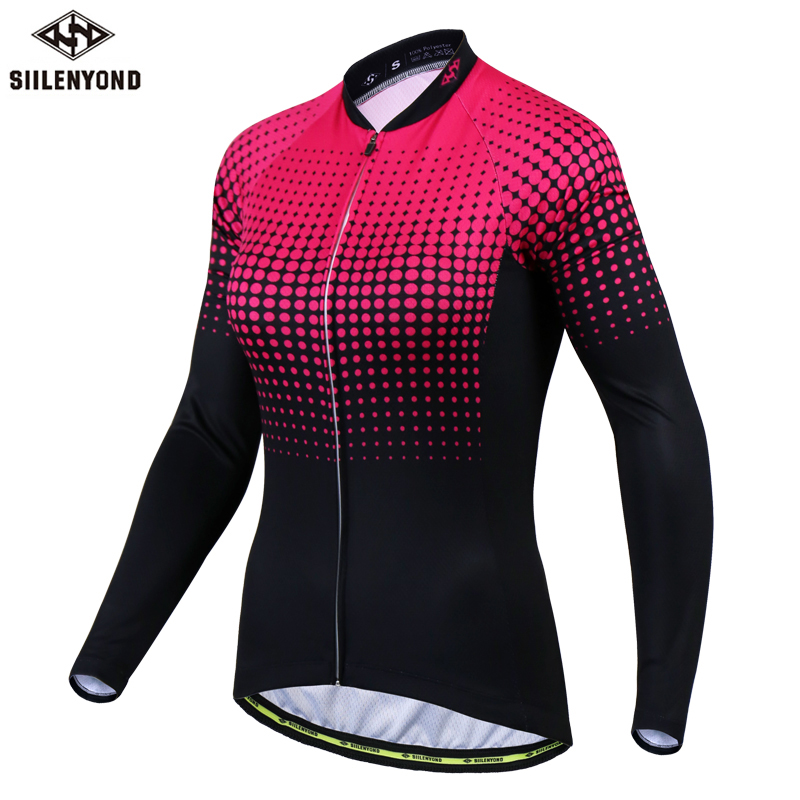 Siilenyond 2019 Women Winter Long Sleeve Cycling Jersey Keep Warm MTB Bicycle Cycling Clothes Thermal Fleece Cycling Clothing