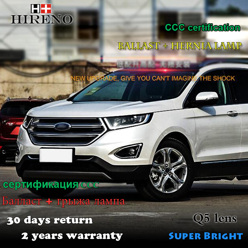 Hireno Car styling Headlamp for 2015-2017 Ford EDGE Headlight Assembly LED DRL Angel Lens Double Beam HID Xenon 2pcs