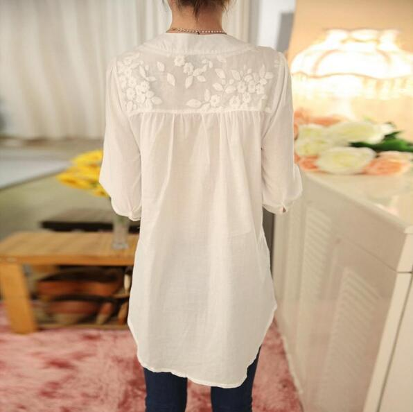 White Lace Blouse Flower Print Long Sleeve V-neck Embroidered Shirt