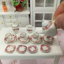 1/12 Dollhouse Miniature Dining Ware Porcelain Tea Set Dish Cup Plate 15pcs
