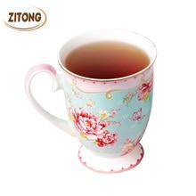 Porzellan Nachmittag Tee Tassen Royal Bone China Blumen Tee Tasse Kreative Geschenk Kaffee Tassen Und becher Zitong Keramik Becher Blume