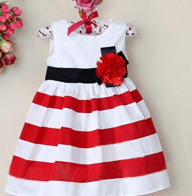 ec8cb40e4daf Online Shop Trendy baby dress Sleeveless striped dress with flower ...