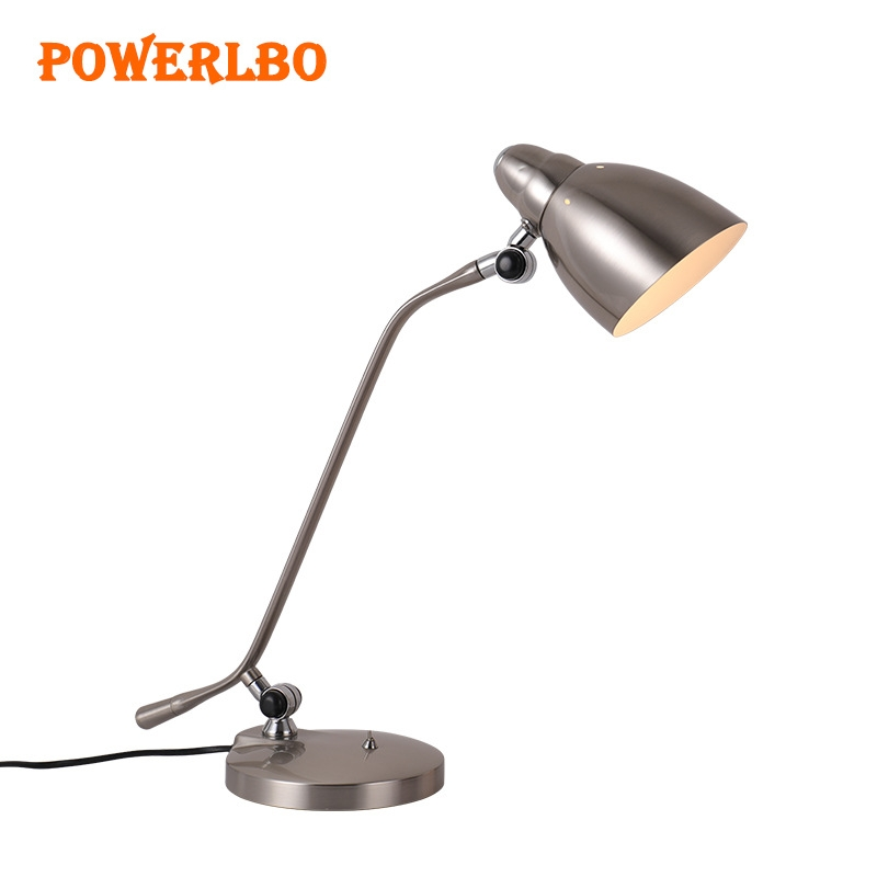 Powerlbo office desk lamp with metal Arm for reading lamp and rotatable with LED Bulb