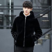 Hot sell 2019 new winter faux fur coat Men black warm fashion Soft and comfortable rabbit thick hooded jacket Plus Size 4XL