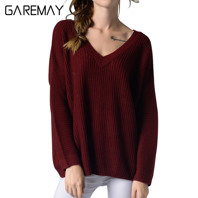 Kazak Bayan Knitted Sweater Woman 2016 Maglioni Donna Large Size Black V Neck Sweater Sexy knitwear For Women Pullover GAREMAY