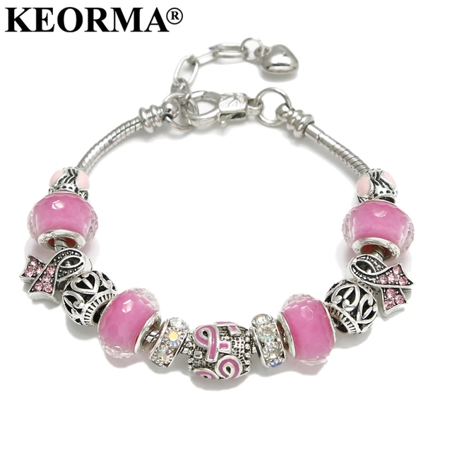 KEORMA Pink Ribbon Charm Bracelet & Bangle for Women European Murano Glass Bead Adjustable Heart Chain Bracelet Fashion Jewelry 2