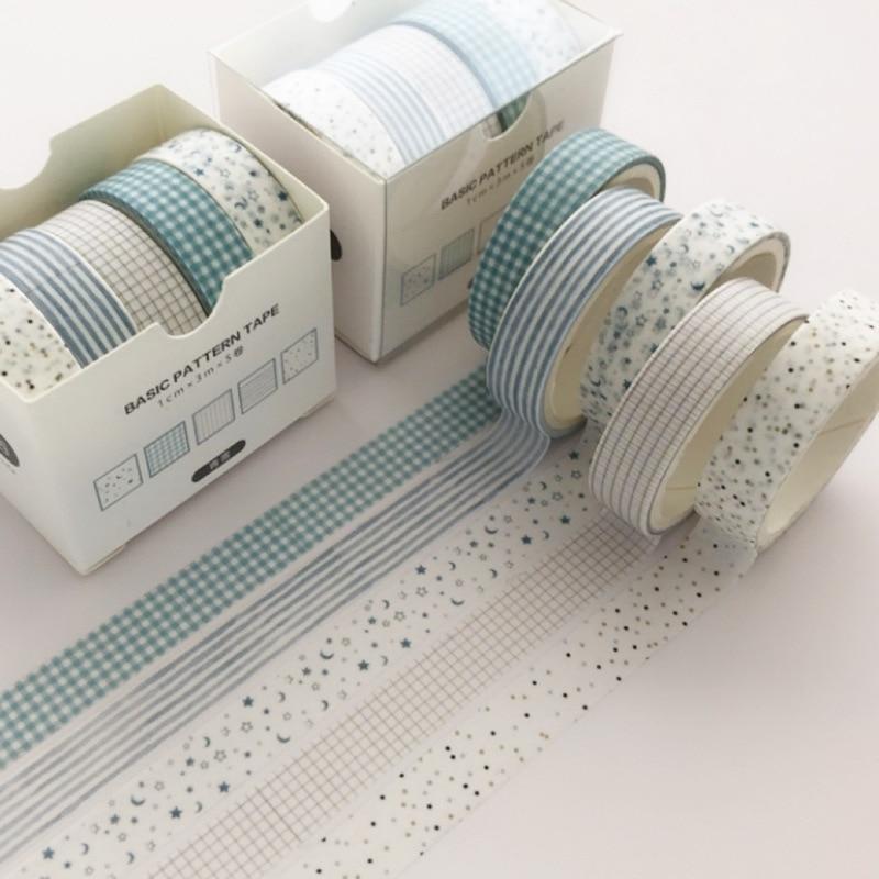 5 Pcs/pack Moon Star Washi Tape Set Decoration Sticker Scrapbooking Diary Adhesive Masking Tape Stationery School Supplies