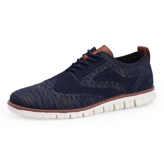 Brogue zapatos de hombre de encaje Merkmak nuevo ligero vestido británico calzado de moda hueco transpirable zapatos planos de malla de punto